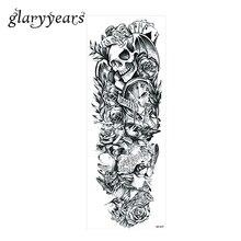1 Sheet Big Large Full Arm Tattoo Sticker Temporary Waterproof Skull Rose Flower Clock Women Men Body Art Tattoo Sticker QB-3037