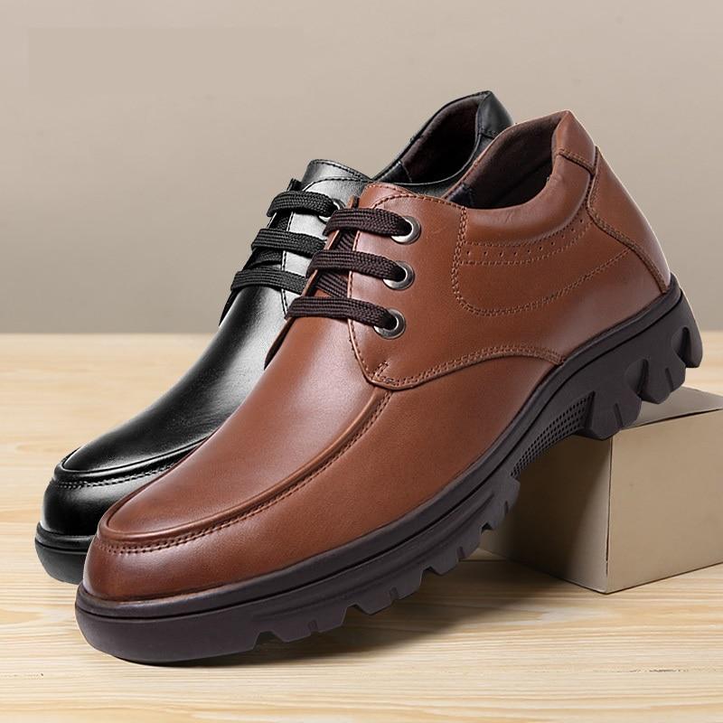 Derby Couro Moda Negócio Black 8 De Altura Casual Sapatos Crescente Invisível brown Elevador Genuíno Centímetros Nova Homens Palmilha UZwdqtw