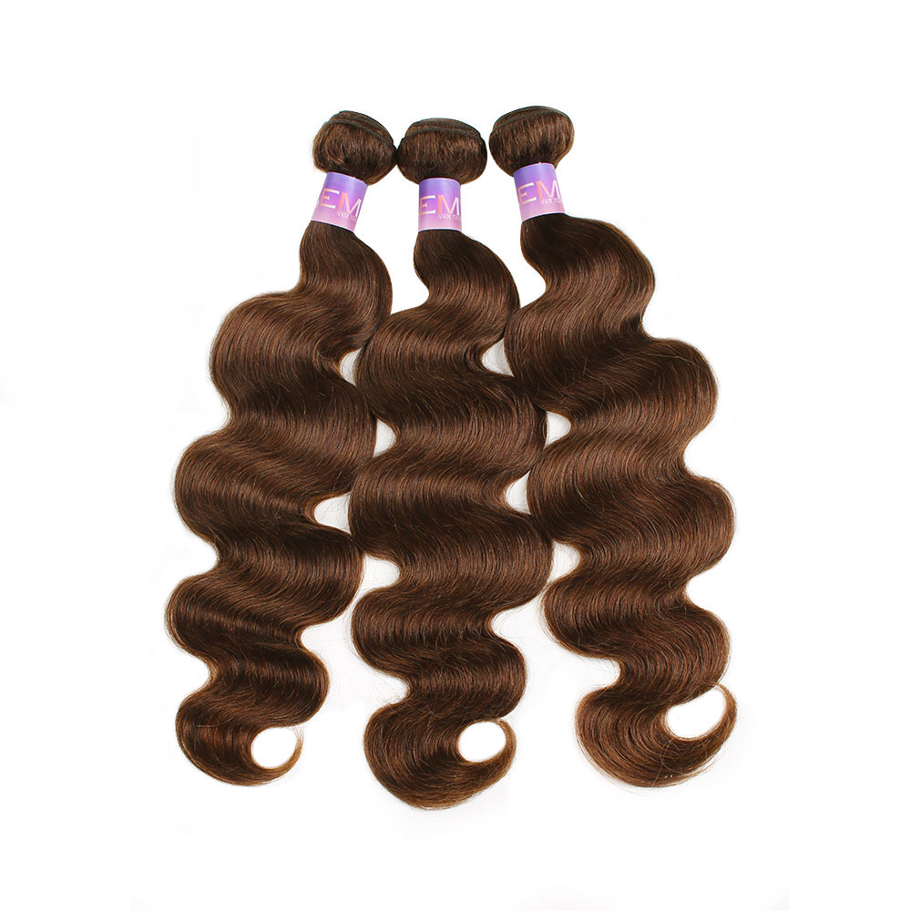 Medium Brown Body Wave Human Hair Bundles 3/4 PCS Brazilian Hair Weave Bundles 10 To 26 Inch Non-Remy Hair Extension KEMY HAIR