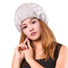 women winter fur hats of natural rex rabbit fur thicken fur caps autumn white black red beige 11 colors fur beanies H109