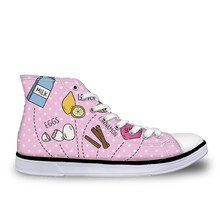Pink Canvas Shoes For Teenager Girls Casual Women Platform Sneakers Art