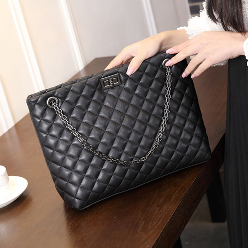 Aliexpress Micom Vintage Black Diamond Lattice Quilted Metal Chain Strap Tote Bag Women Square Style Leather Shoulder Handbag Zip Pouch From