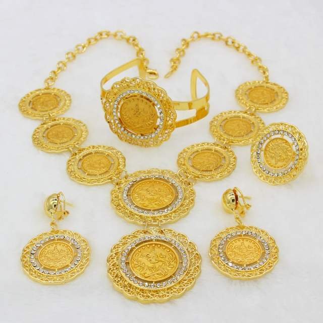 Online Shop Adixyn Gold Color Turkey Coins Necklaceearringring
