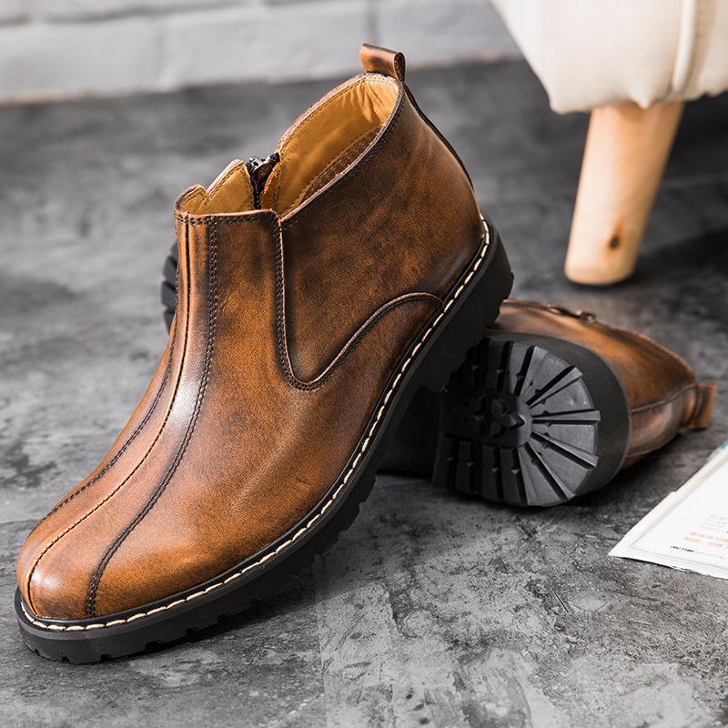 Couro Juventude 2017 Botas Rodada Moda Inverno Sapatos Da Martin Homens Novas Preto Dos De amarelo Retro BXqpB