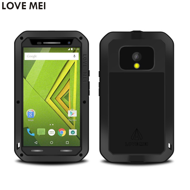 For Motorola MOTO X Play/XT1561/XT1562 5.5 Waterproof Shockproof Case LOVE MEI Powerful Gorilla Toughened Glass Hard Metal Cover