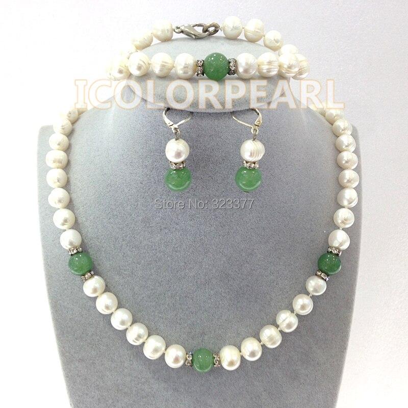 WEICOLOR 9-10mm blanc véritable perle naturelle et perle verte ensemble de bijoux. Collier 45 cm, Bracelet 19cm. Contact pour différentes longueurs
