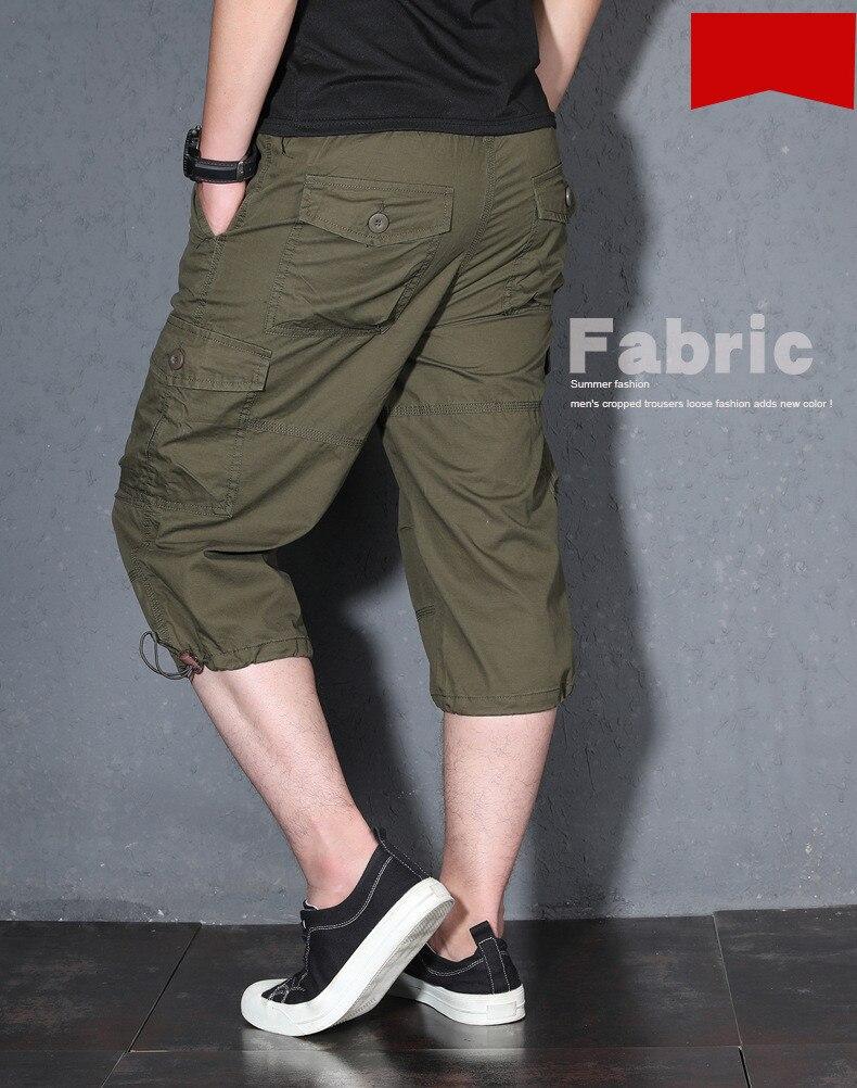 meia-idade calças curtas para o sexo masculino calças de 7 pontos