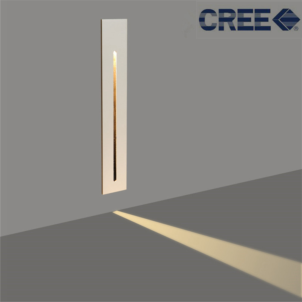 3W Recessed Led Stair Light AC85-265V Indoor Corner Wall lights Step Decoration Lamp Hallway staircase Lamps With CREE Chip new design 86 embedded foot lights corner stair step led wall footlights lamps wall switch