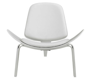 Hans Wegner Style Three-Legged Shell Chair Ash Plywood White Faux Leather Living Room Furniture Modern Lounge