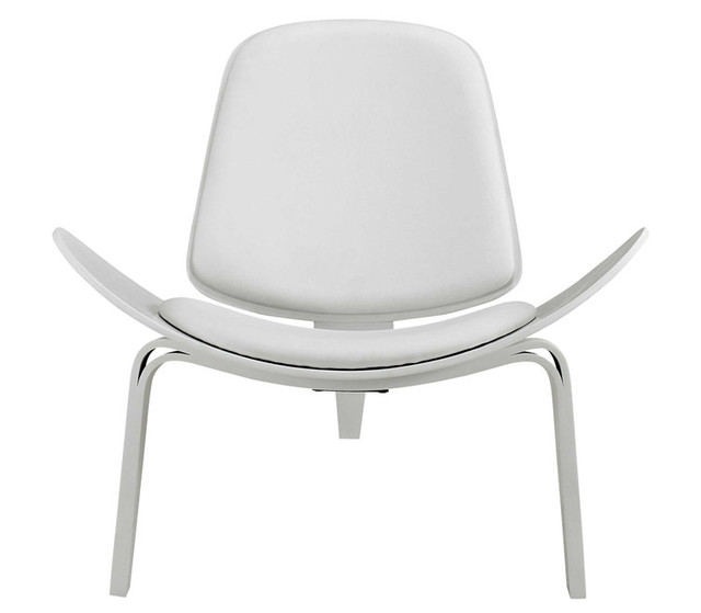 Hans Wegner Style Three Legged Shell Chair Ash Plywood White Faux Leather  Living Room Furniture