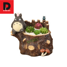 Dehomy Totoro Flower Pot Resin Flower Pot Succulent Plants Pot Toy Set Japanese Anime Totoro Action Figure Home And Garden Decor