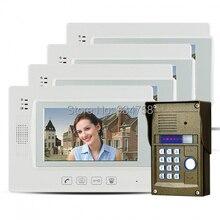 "7 "" Key Touch LCD Video de la puerta teléfono Video Intercom IR cámara contraseña bloqueo de visión nocturna 1V4"