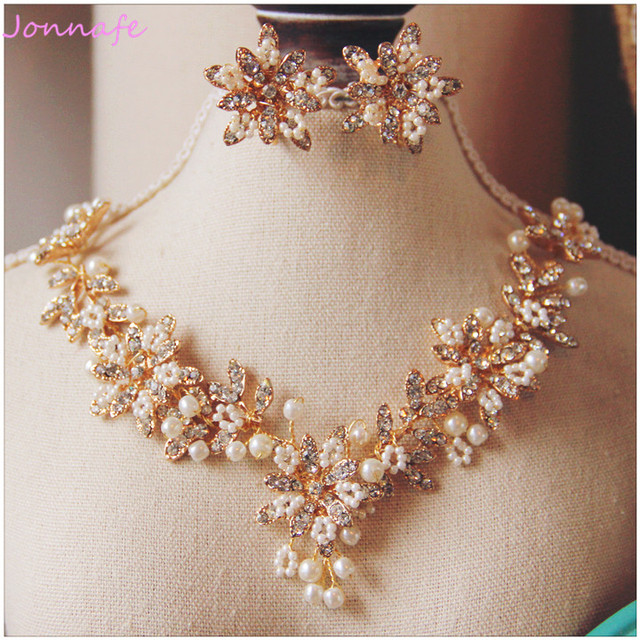 Jonnafe Charming Gold Flower Wedding Necklace Earrings Pearls Bridal