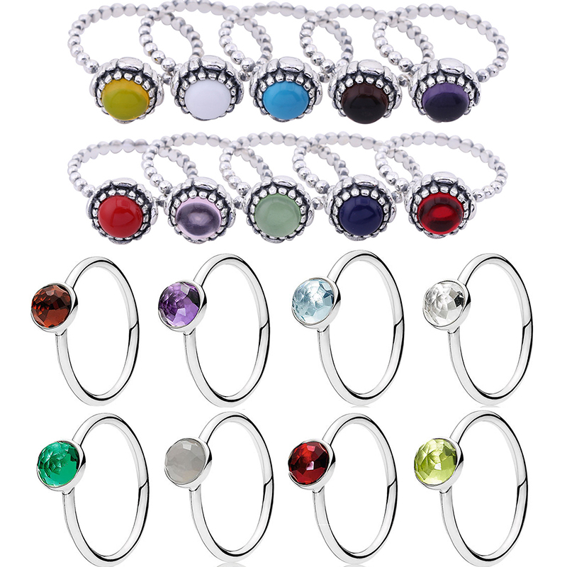 Real 925 Sterling Silver /& CZ Crystal Adjustable Birthstone Rings Birthday Month