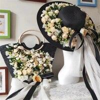 Women Handmade flower straw bag 2019 NEW black sun hat bag set travel handbag totes Holiday Weaving Beach Bag for ladies