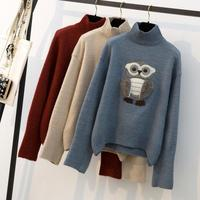 Autumn Winter New Fashion Womens long sleeve Casual Turtleneck owl Sweater Loose Thick Ladies Pullovers Plus Size X2037