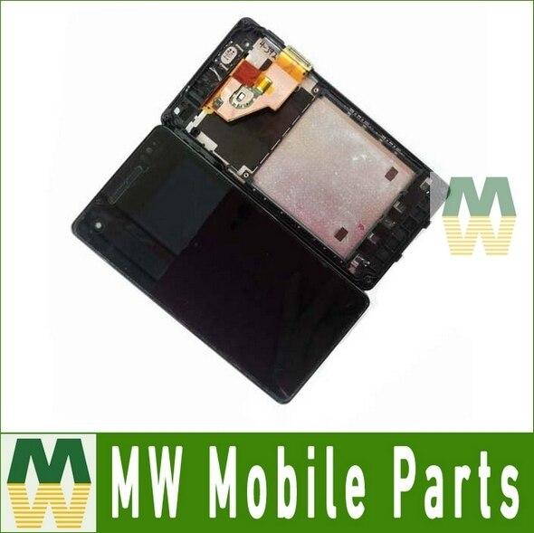 1 pc/lote lcd + de tela de toque com frame para o sony xperia v lt25i preto cor