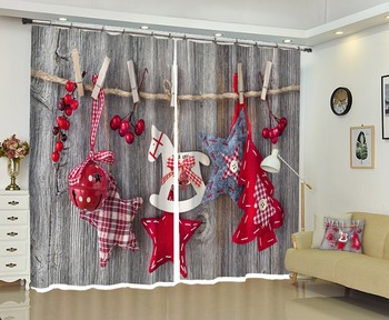 Christmas Decorative Curtains Creative Illustration 3D Printing High-precision Shade Luxury Curtains for Living Room