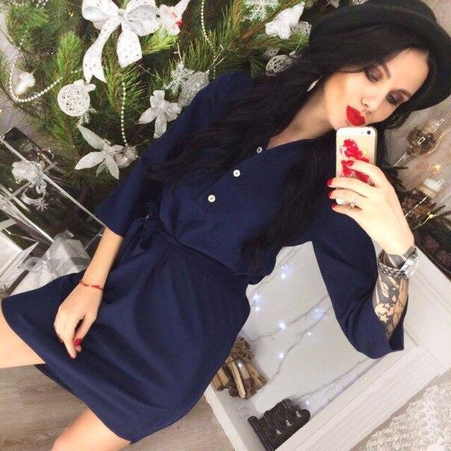 Новый 2018 Повседневное Весна Для женщин темно-синий розовый платье-футболка vestidos Осень 3/4 рукав офиса партии спецодежды Платья для женщин плюс Размеры