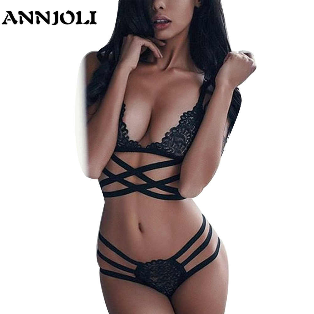 53ed1666a Detail Feedback Questions about ANNJOLI Sexy Lingerie Bra Panties Women  Lace G String Thong Brief Strap Cross Hollow Out Bikini Bras Underwear Women  ...