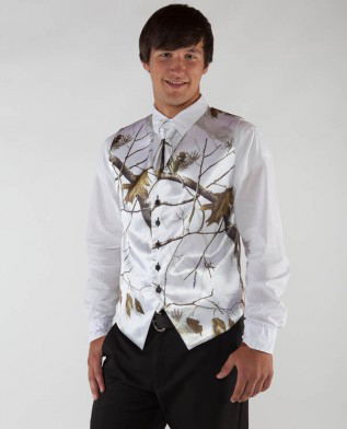 The Best Man Wedding Groom Wear Realtree Snow White Camo Formal Tuxedo Camouflage Vest Custom Make Agreeable To Taste