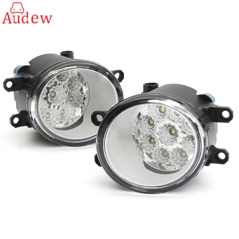 2Pcs Round Front Fog Light Lamp DRL Daytime Driving Running Lights For Toyota/Corolla/Camry/Yaris/Vios/RAV4 car front bumper fog lamp lights for toyota yaris camry avensis rav4 corolla highlander matrix prius for lexus rx270 lx570