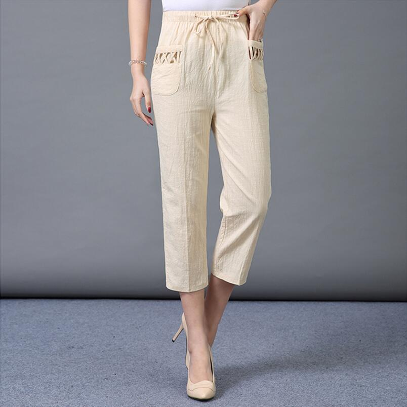 Women Summer Straight   Pants   2019 High Waist Trousers Casual   Pants     Capris   Female Cotton Elastic Waist Linen   Pants   Women LY143