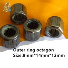 цена на 2pcs bearing HF081412 Outer ring octagon/Outer hexagonal /Smooth surface/Outer knurled  One-way needle roller bearing 8*14*12mm