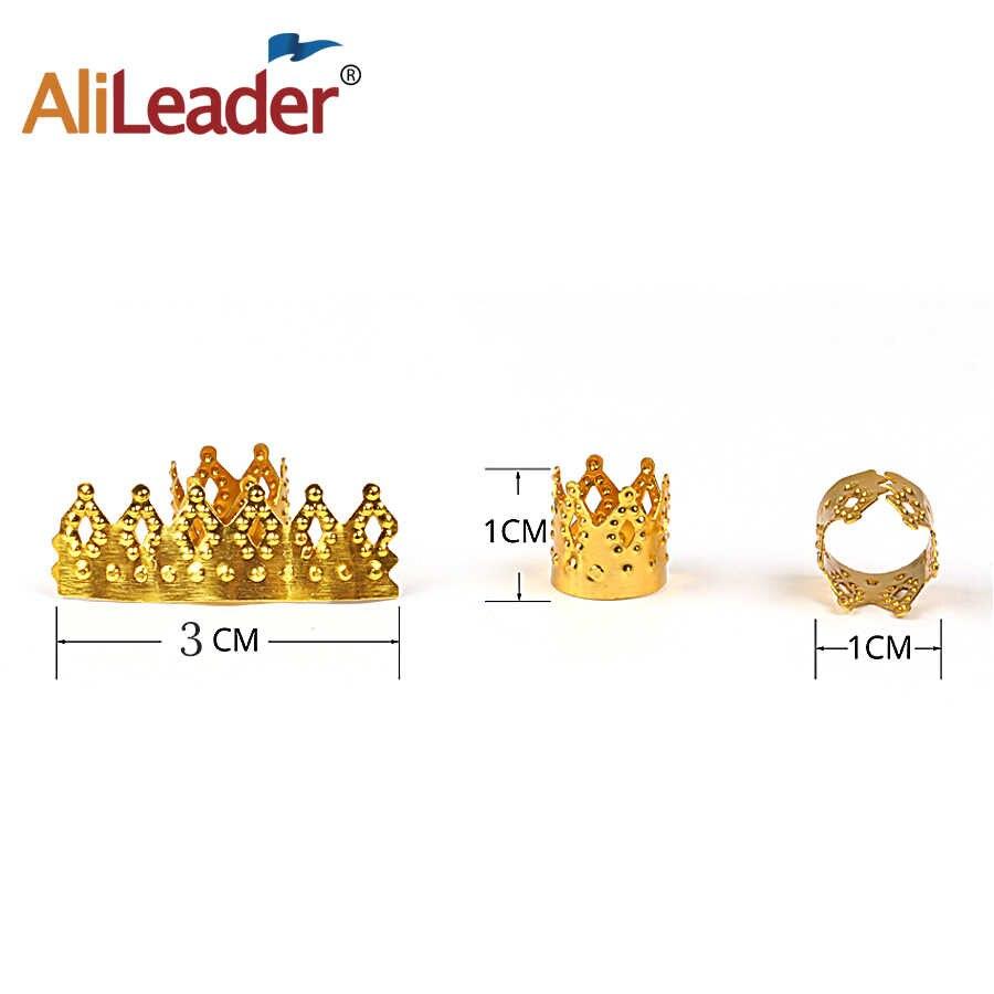 Из Металла Волосы Заплетены страх Dreadlock Бусы Корона выдалбливают дизайн регулируемый клипсы для волос застежка-кольцо трубки золотые украшения 50 шт./100 шт.