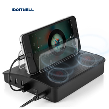 4 Ports USB Charger Bluetooth Speaker 5V6A Desktop Charging Station 6W wireless speaker with bluetooth