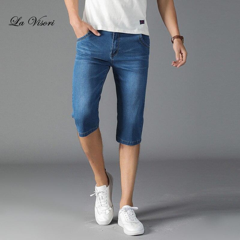 2018 New Mens Jeans Shorts Retro Cargo Denim Vintage Acid Washed Faded Multi-Pockets Summer Men Short Jeans