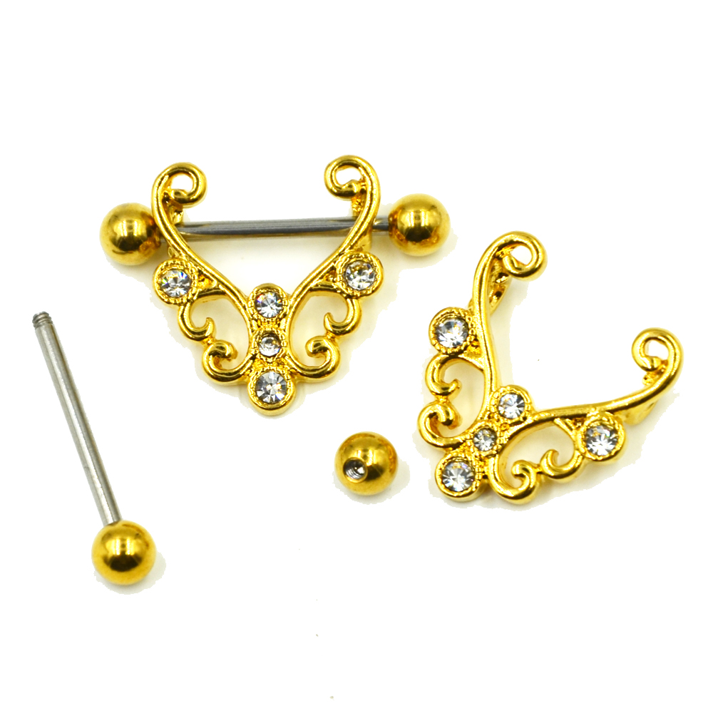 PIR Surgical Steel CZ Crystal Gold Nipple Ring Stirrup Barbell - Mote smykker - Bilde 3