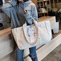 التسوق المرأة حقيبة قابلة لإعادة الاستخدام حقائب الصلبة حقائب ملابس المحمولة غلق بمشبك قماش حقيبة كتف أسلوب بسيط الترفيه حمل