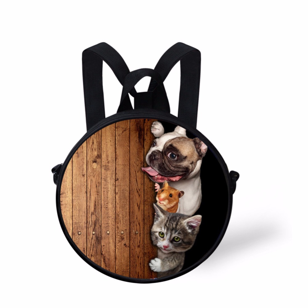 Noisy Designs 2017 Mini Round School Bag 3D Dog Cat printed Bookbag for Kindergarten Student Multicolor Boy Small Shoulder Bag