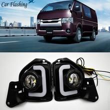 Автомобильный мигающий 2 шт. светодиодный 12 В ABS автомобильный противотуманный фонарь DRL Дневной ходовой светильник для Toyota Hiace с поворотным сигналом