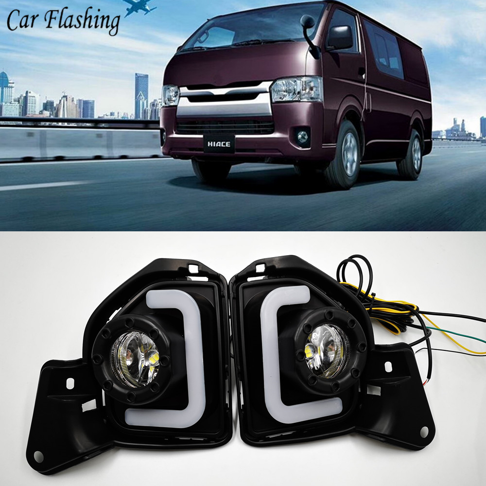 US $48 0 10% OFF|Car flashing 2pcs LED 12V ABS Car fog Lamp DRL Daytime  Running Light For Toyota Hiace 2014 2015 2016 2017 2018 with Turn Signal-in