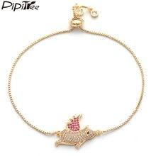 Pipitree счастливый Розовый перо Летающий свинья браслет животное ювелирные изделия золотой цвет цепи CZ циркониевые браслеты для женщин напульсник mujer