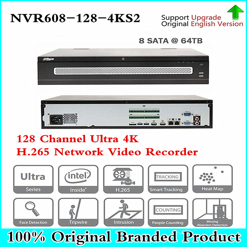 Original DH English NVR608-128-4KS2 4K NVR With 8 Sata Ports 2 HDMI Display NVR608-128-4KS2 with logo , Free DHL Shipping цена