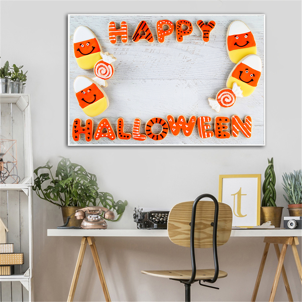 Food Painting Happy Hallowen Decoration Bread Pumpkin Kitchen Poster Scandinavian Decoration Modenr Bread Poster Skull Cuadros image