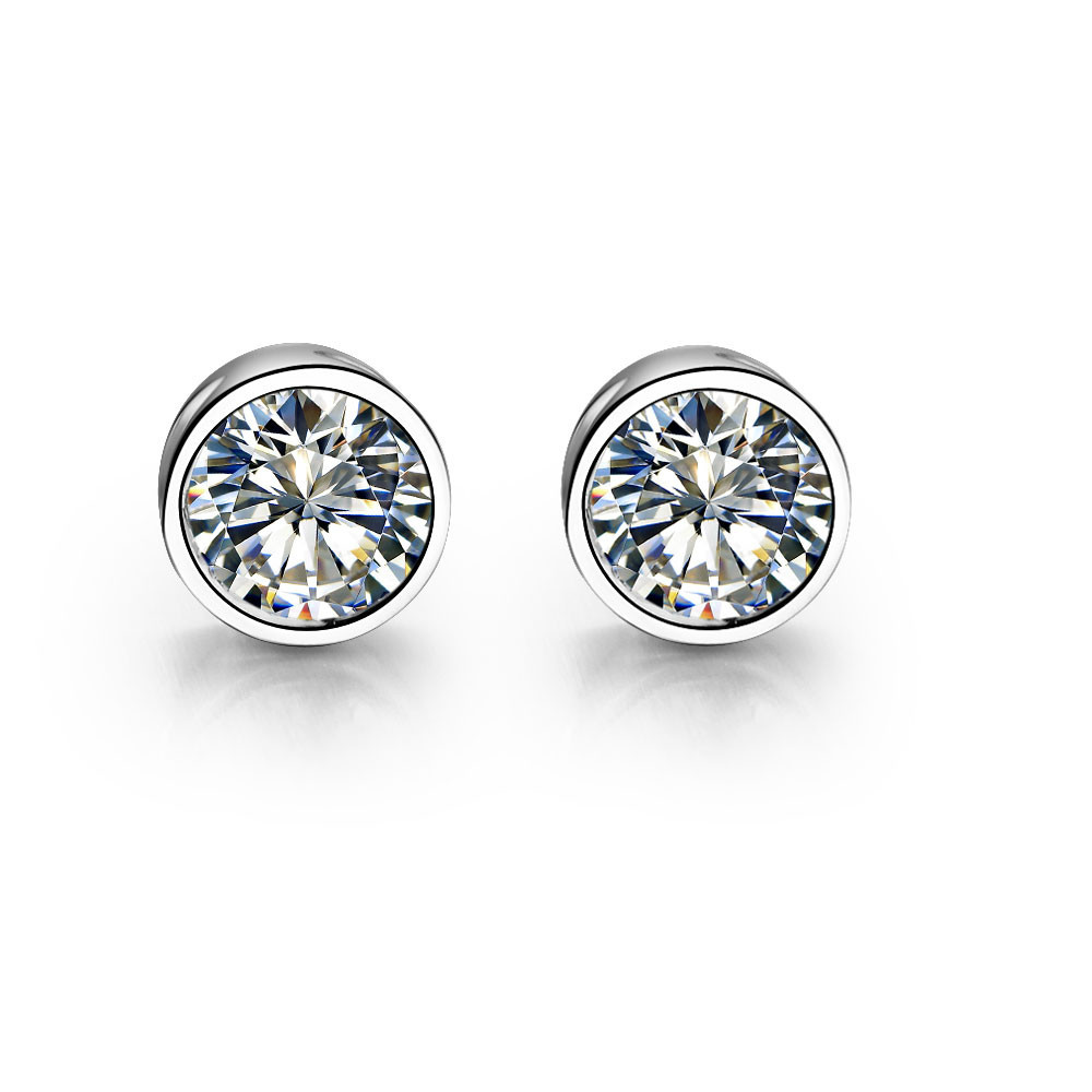 1CT Piece Round Brilliant Fine Diamond Female Wedding Stud Earrings Original Solid Sterling Silver Top Quality