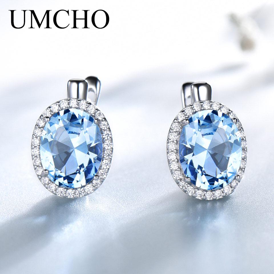 UMCHO Nano Sky Blue Topaz Gemstone Clip Earrings For Women Genuine 925 Sterling Silver Earrings For Women Romantic Fine Jewelry