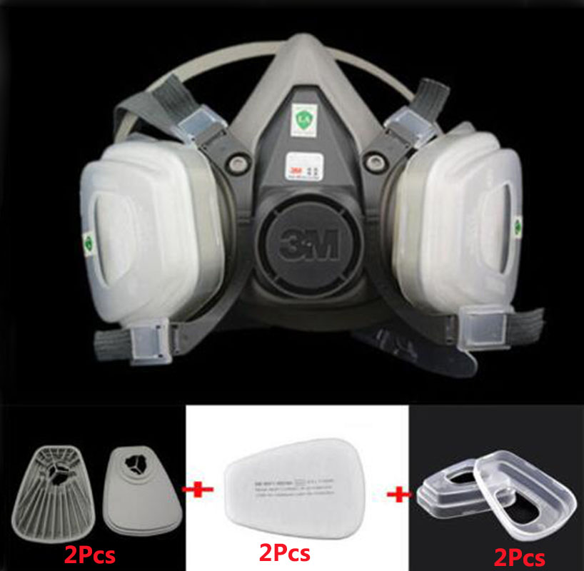 3M 6200 Half Face Gas Mask 7 in 1 Suit Industry Painting Spraying 6200 N95 PM2.5 Safety Anti Dust Respirator Mask 3m 6200 half face respirator dust mask 9 in 1 suit industry spraying safety face piece gas mask respirator for paintting