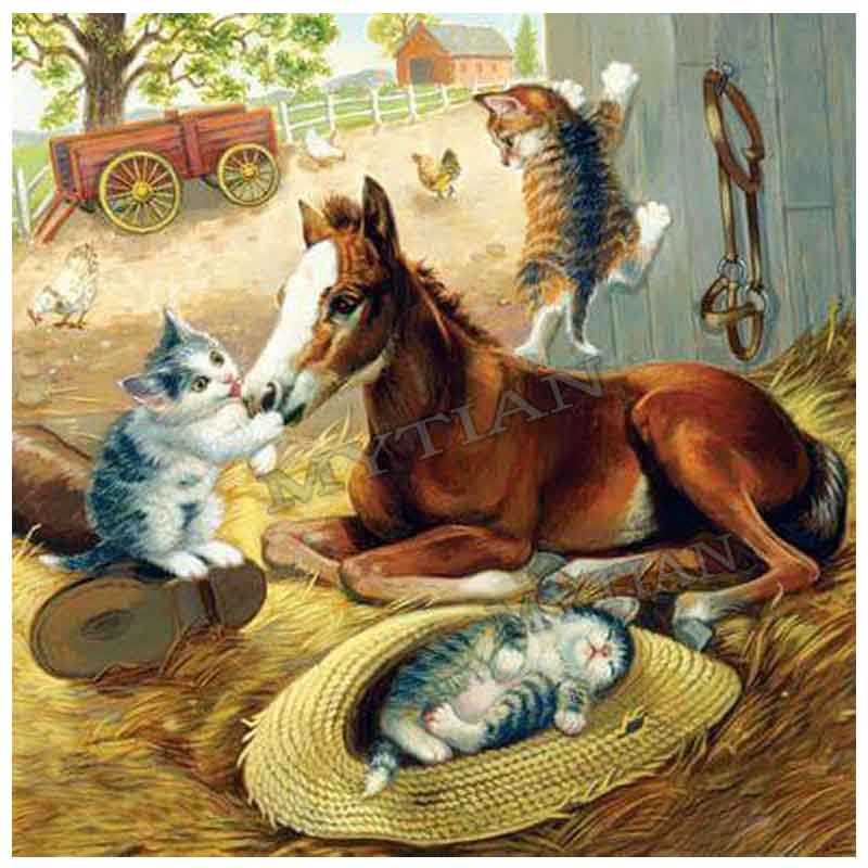 Cats with horses home decor diamond painting DIY 5D square/round embroidery pattern diamond cross stitch animal crafts sticker