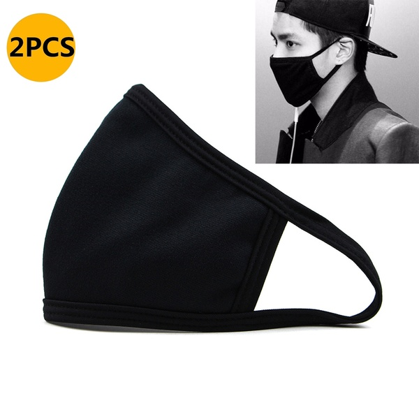 2 Pcs Mouth Mask Black Cotton Blend Anti Dust And Nose Protection Face Mouth Mask Fashion Reusable Masks For Man Woman R3