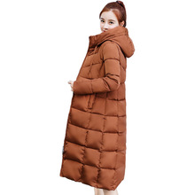 2018 latest winter women's over knee coat slim solid color hooded long-sleeved squares down cotton padded plus size jacket MF028