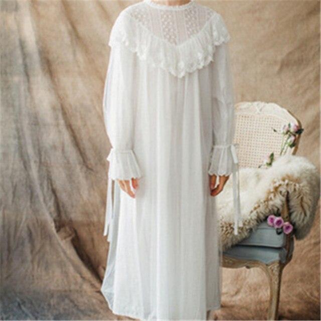 34b1a06b234 Women Ladies Victorian Style Long Sleeve Vintage White Solid Lace Nightgown  Plus Size Sleepwear Lingerie Dress Plus Size T26