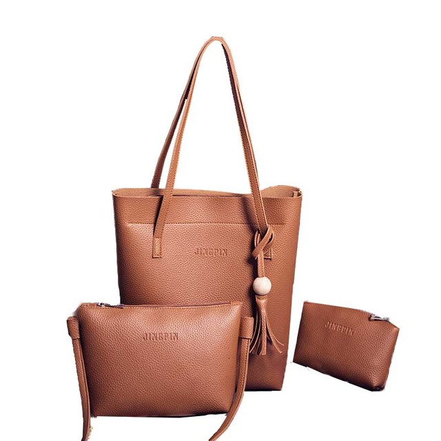 2018 New big capacity PU Leather Handbag Casual Tassel Shoulder Bag Women Crossbody Bag Shoulder Bag Clutch Wallet 3pcs Sets
