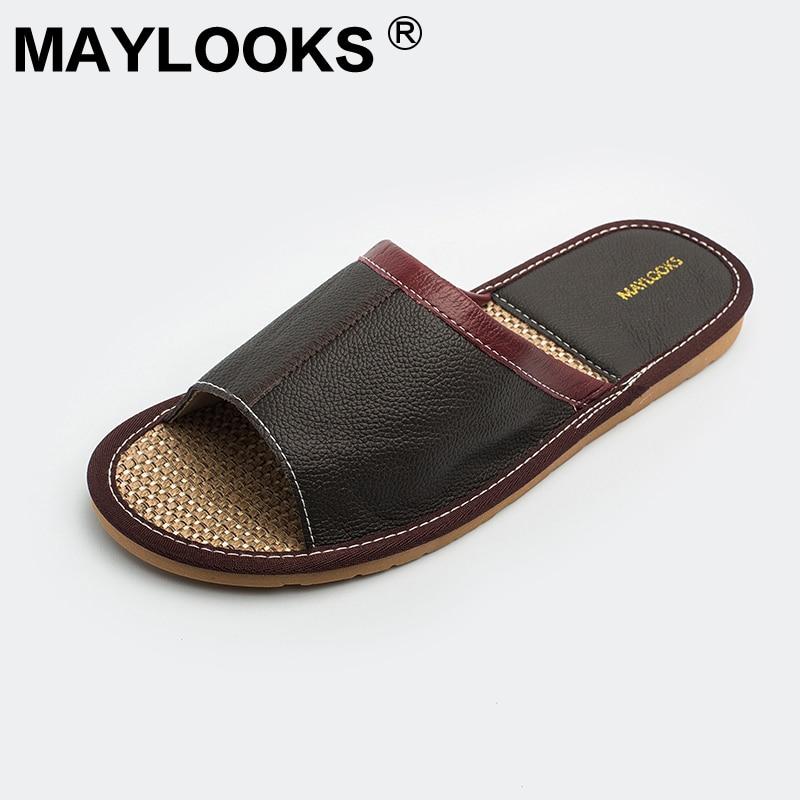 Chinois pas cher vache en cuir plage pantoufle en cuir véritable à - Chaussures pour hommes - Photo 2
