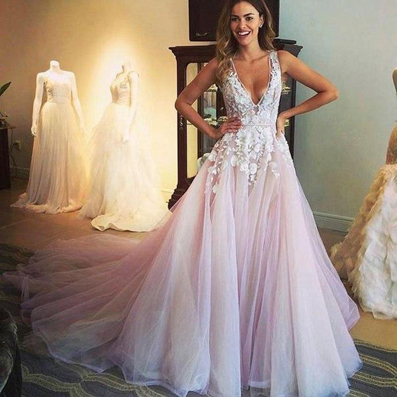 Sexy Deep V Neck Lace Applique Beach Wedding Dresses Blush Pink