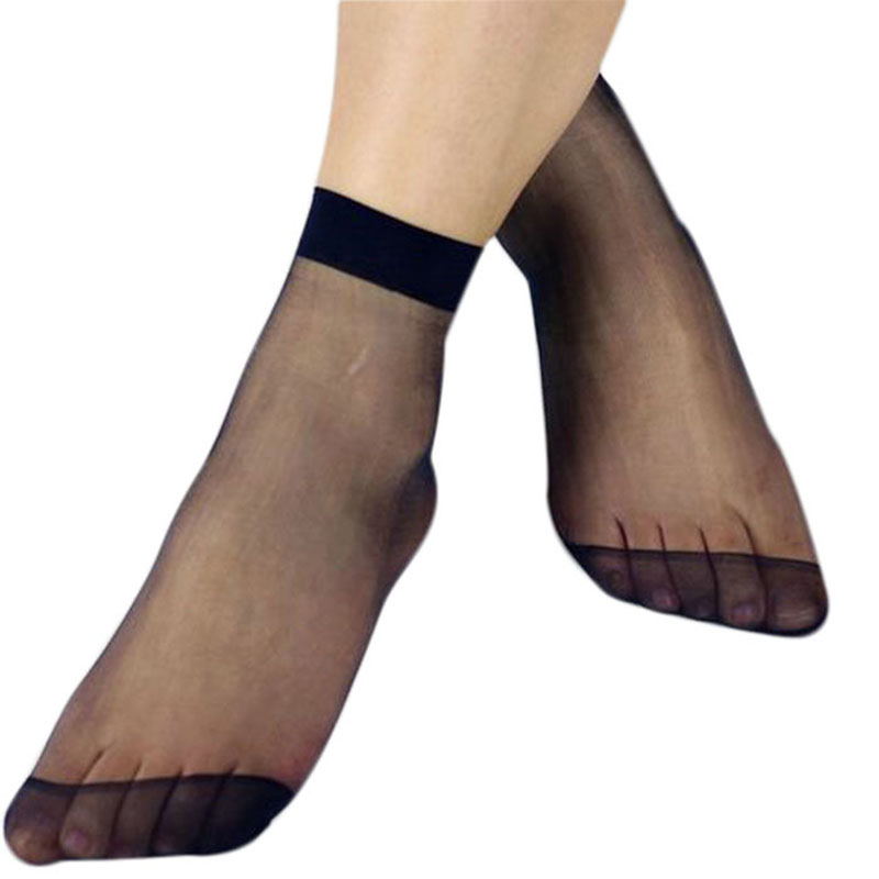10 Pairs Women Casual Crystal Transparent Elastic Short Thin Silk Ankle Socks